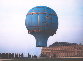 Replica of Montgolfieres brothers first balloon in 1783 made for the Merchant Ivory film